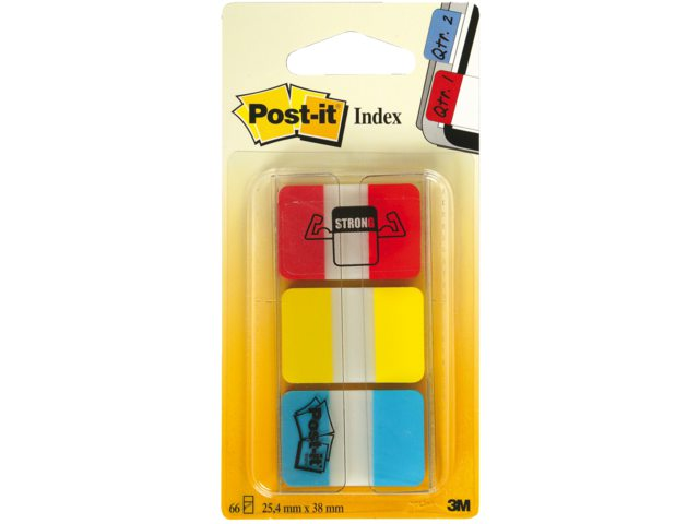 Indextabs 3M Post-it 686RYB strong rood/geel/blauw