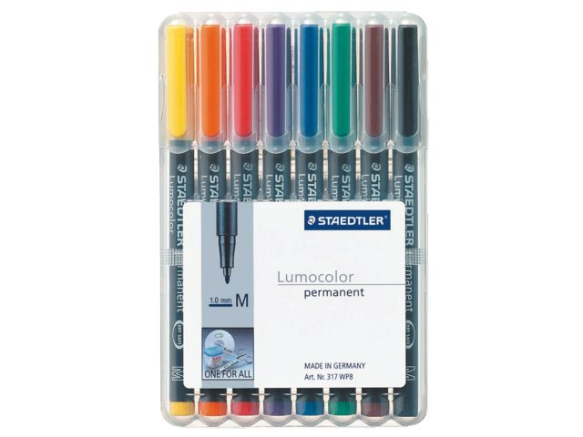 Viltstift Staedtler OHP Lumocolor M317 assorti 8stuks medium