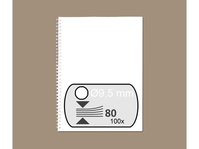 Draadrug GBC 9.5mm 34-rings A4 wit 100stuks