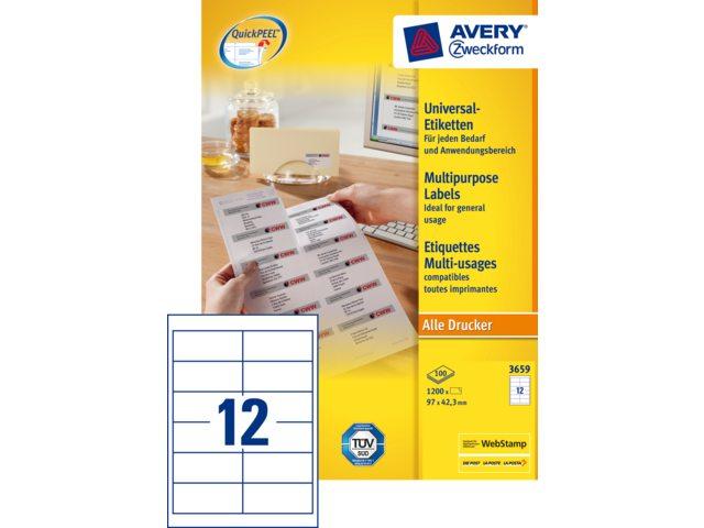 Etiket Avery Zweckform 3659 97x42.3Mm wit 1200stuks