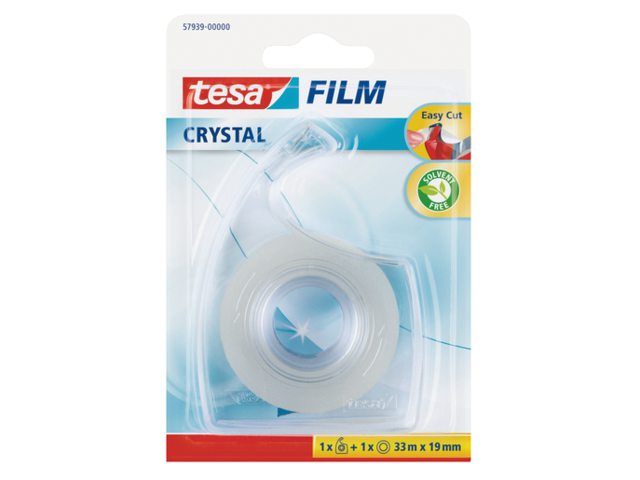 Plakband Tesa film Crystal 19mmx33m op dispenser