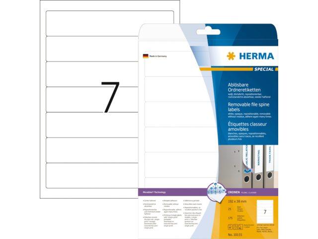 Rugetiket Herma 10155 192x38mm verwijderbaar wit