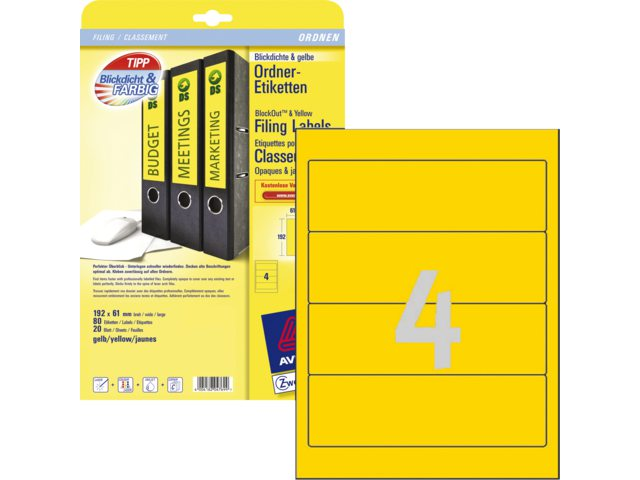 Rugetiket Avery L4769-20 192x61mm zelfklevend geel
