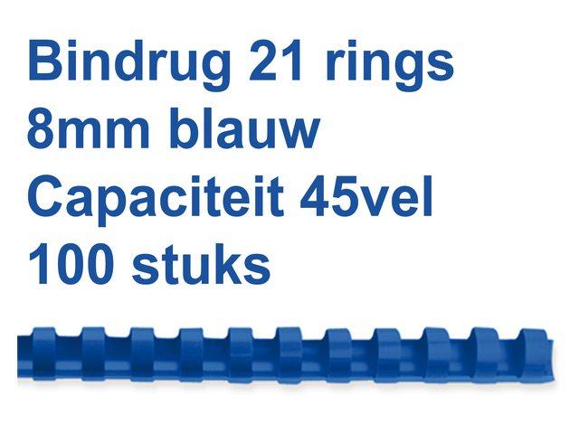 Bindrug GBC 8mm 21rings A4 blauw 100stuks