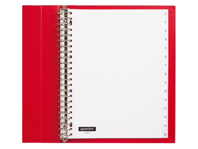 Tabbladen Quantore 23-gaats 1-15 genummerd wit PP