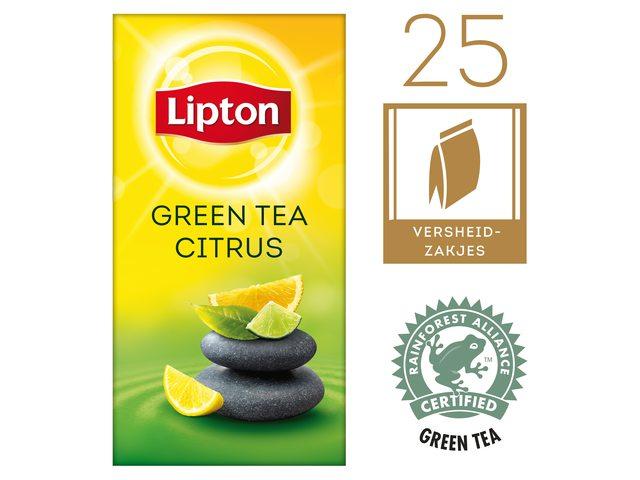 Thee Lipton Green Tea citrus met envelop 25stuks