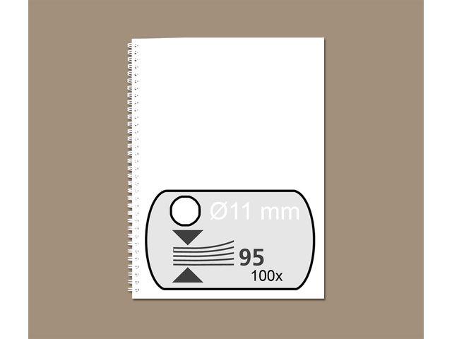 Draadrug GBC 11mm 34-rings A4 wit 100stuks