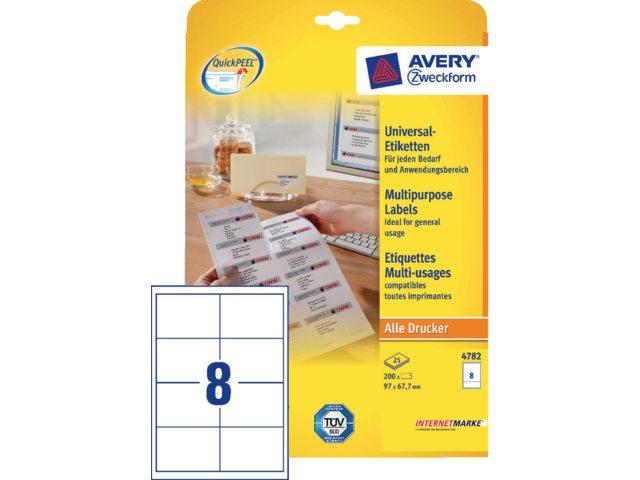 Etiket Avery Zweckform 4782 97x67.7mm wit 200stuks