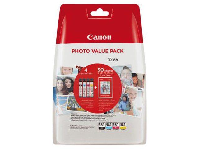 Inkcartridge Canon CLI-581 4 kleuren + 50vel fotopap 10x15cm
