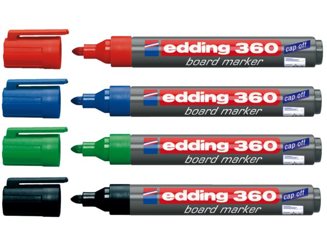 Viltstift edding 360 whiteboard rond assorti 3mm blister à 4
