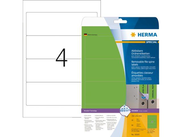 Rugetiket Herma 10169 192x61mm verwijderbaar groen