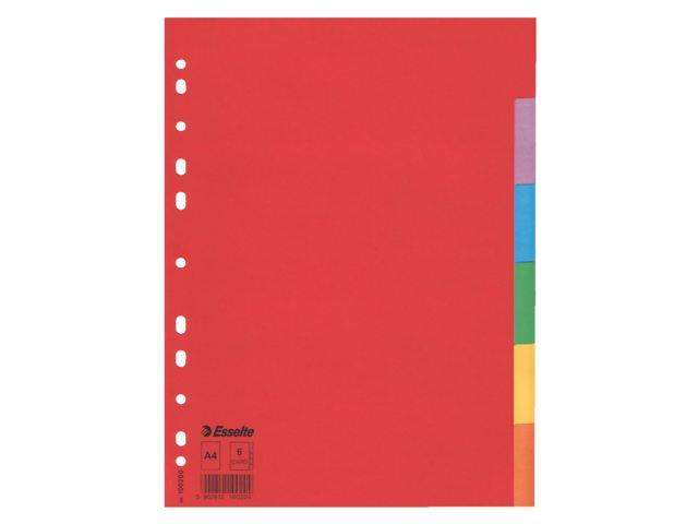 Tabbladen Esselte A4 11R karton 6-delig zonder voorblad