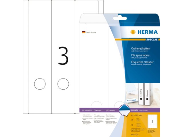 Rugetiket Herma 5135 297x61mm zelfklevend wit
