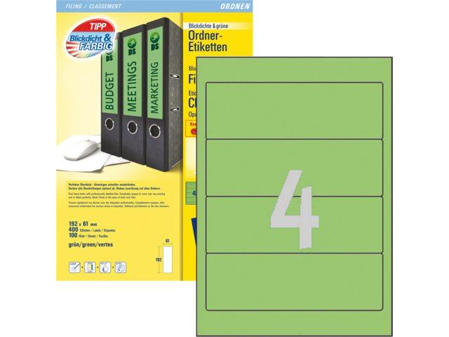 Rugetiket Avery L4768-100 192x61mm zelfklevend groen