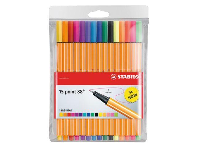 Fineliner Stabilo Point 88 15stuks assorti inlusief 5x neon