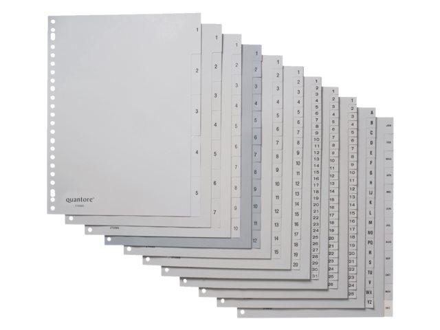 Tabbladen Quantore 23-gaats 1-52 genummerd grijs PP