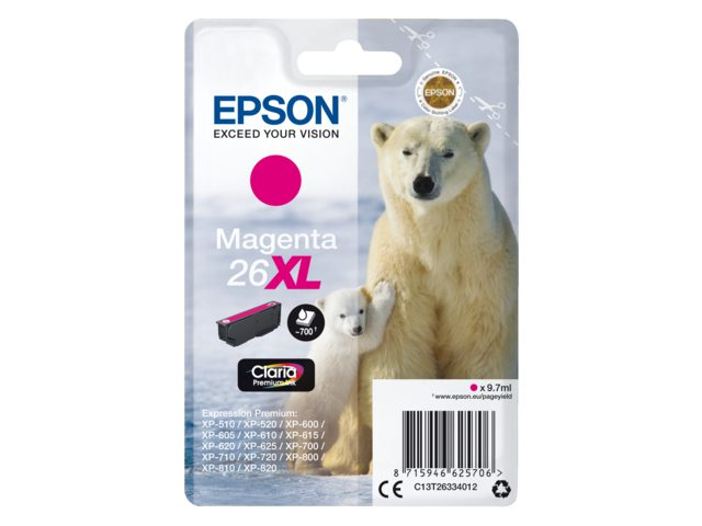 Inkcartridge Epson 26XL T2633 rood HC