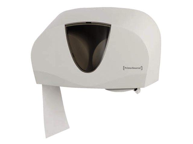 Dispenser PrimeSource Classic Duo toiletpapier wit/tranp.