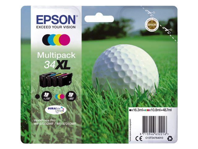 Inkcartridge Epson 34XL T3476 zwart + 3 kleuren