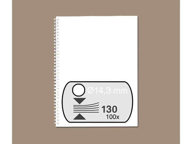 Draadrug GBC 14.3mm 34-rings A4 wit 100stuks