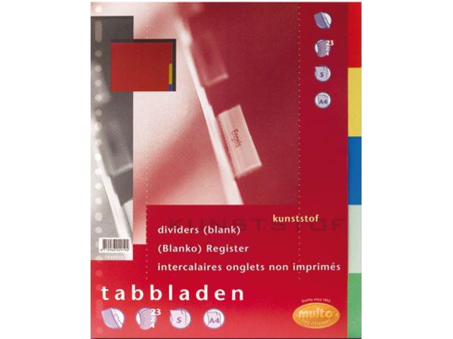 Tabbladen Multo 7040510 A4 23R PP 5-delig assorti