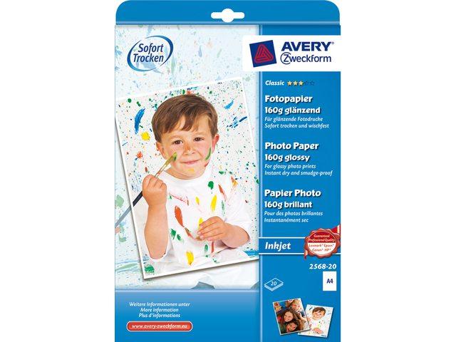 Inkjetpapier Avery 2568-20 A4 160gr hoogglans 20vel