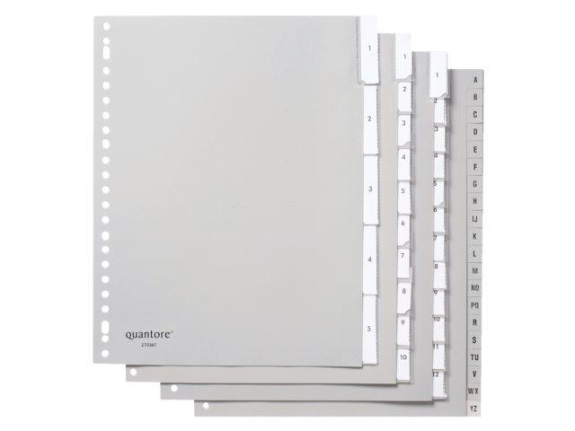 Tabbladen Quantore A4 23-gaats 20-delig met A-Z breed grijs