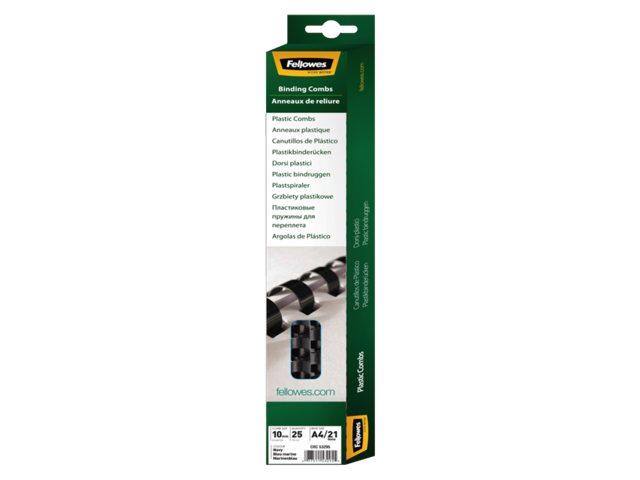 Bindrug Fellowes 10mm 21rings A4 zwart 100stuks
