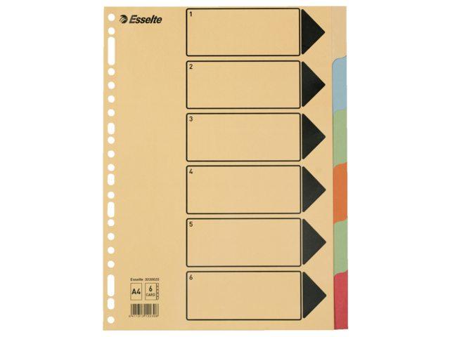 Tabbladen Esselte A4 23-gaats karton 6-delig assorti