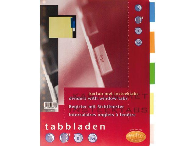 Tabbladen Multo 7310840 A4 23R karton 5-delig plastic tab