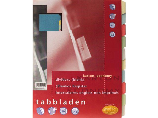 Tabbladen Multo 7311730 A4 23R karton 10-delig assorti