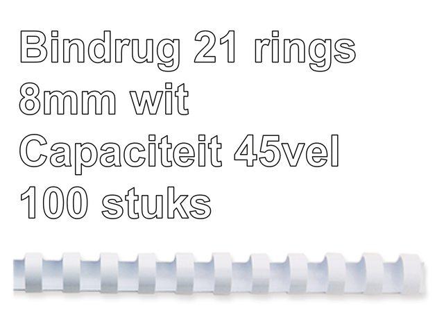 Bindrug GBC 8mm 21rings A4 wit 100stuks