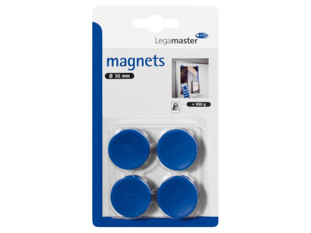 Magneet Legamaster 30mm 850gr blauw 4stuks